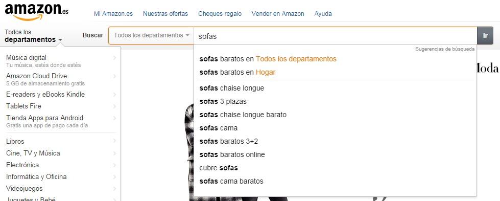 Búsqueda de sofás en Amazon