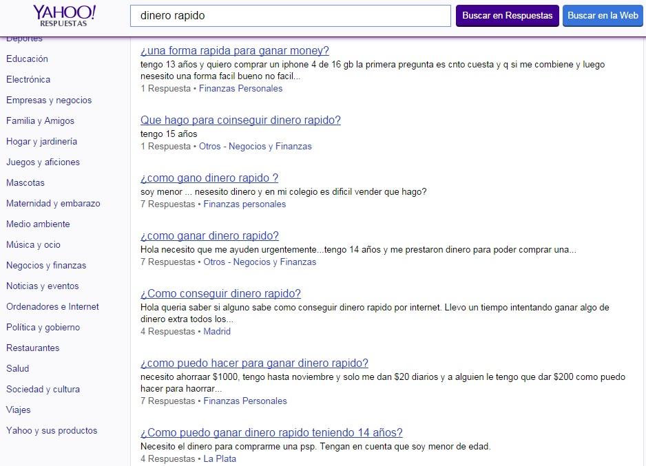 Preguntas de Yahoo Respuestas